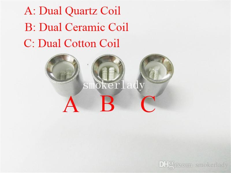 2016 NOVAS bobinas de cera Dupla para canhão vaporizador atomizador vape bobina dupla bobina dupla de Cerâmica De Cera de Quartzo Globo De Vidro vaso de metal cartomizer