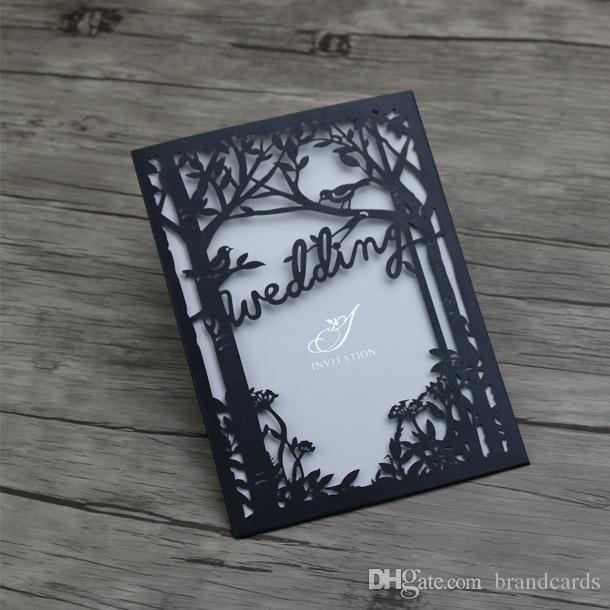 30 Personalized Engraved Tree And Birds Wedding Invitations Cards Laser Cutting Wedding Invitation Hollow Cut Pearl Black Wedding Cards