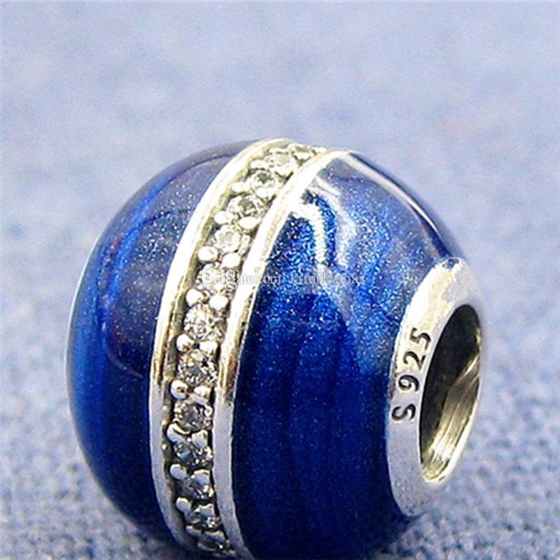 c12f99372 2019 925 Sterling Silver Orbit Charm Bead With Midnight Blue Enamel & Clear  CZ Fits European Pandora Jewelry Bracelets Necklaces & Pendants From  Kimthomas, ...