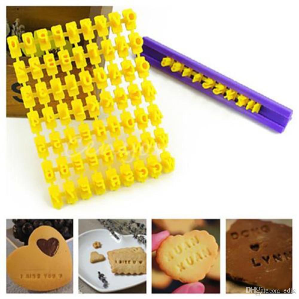Alphabet Number letter Impress Set cookie biscuit stamp embosser cutter cake fondant DIY Mold