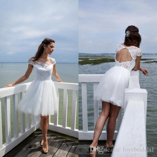 Short A Line Beach Wedding Dresses Sheer Scoop Neck Capped Sleeves ...