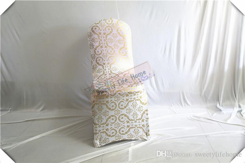 Bronzing Spandex chair covers and printing wedding chair seats/Gilding lycra banquet chair cover