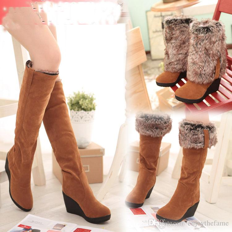 0c1aedc44390 Snow Boots Women Winter Boots Wedges High Heels Shoes Long Barreled Folding  Thermal Autumn And Winter Shoes Ski Boots Boots No 7 From Enjoythefame