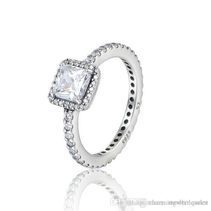 37cedf378 TIMELESS ELEGANCE Silver Rings Cubic Zirconia S925 Sterling Silver Fits For  Pandora Style Bracelet And Charms Jewellery Princess Cut Engagement Ring ...