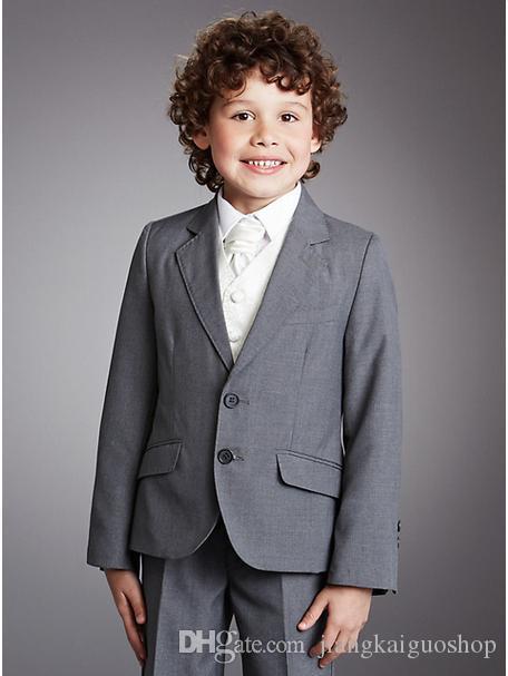 Tailored ragazzo fiore ragazza vestito picco bavero 2 bambini al giorno vestito pulsante grigio tre pezzi cappotto + pantaloni + giacca A1