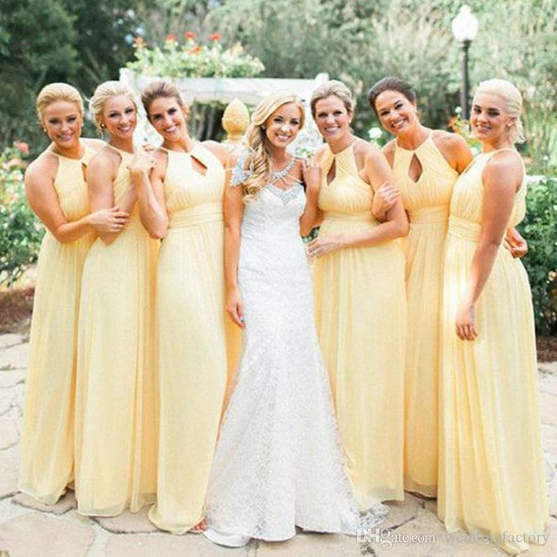 e0b6643a0cc Gorgeous Long Formal Yellow Bridesmaids Dresses Beach Wedding Halter  Sleeveless Ruched Chiffon Maid Of Honor Gowns Sexy Cut Out Design Dresses  Online ...