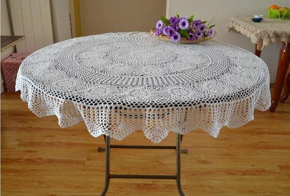 130cm Round table linen, Hand crochet white table cloth table topper for home decorative 100%handmade coasters af016