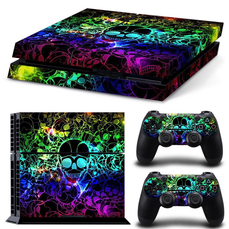 Superb Colourful Skull Vinyl Decal PS4 Skin Sticker full Set Console Skin+Controller Protective Skin Stickers