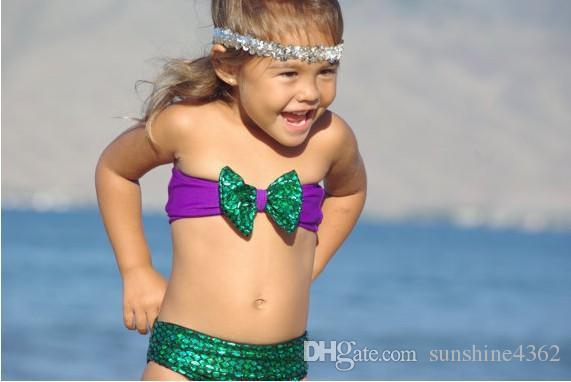 Yeni moda Sequins Mermaid Çocuk Çocuk Bebek Kız Ilmek Bikini Mayo bebek Mayo Seti Ücretsiz kargo