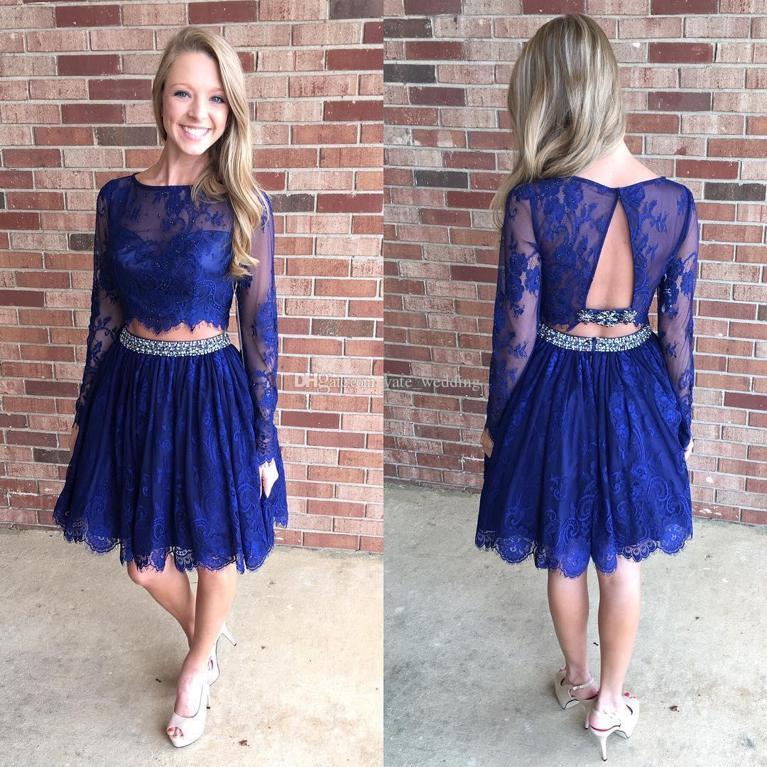 2017 Royal Blue Lace corto vestidos de fiesta Illusion Neck mangas largas abierto atrás Little White Boho vestidos de fiesta de dos piezas Homecoming vestidos