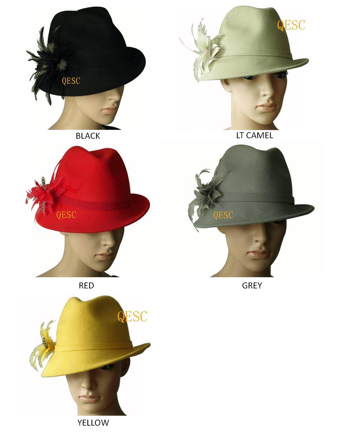 8ad4849c4dd57 Compre Sombrero De Fieltro De Lana Sombrero De Invierno Con Flor De Plumas