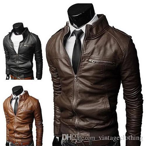 88b77f7519af Hot sales Winter Fashion Stylish Brand Men s leather Jacket Collar Stand  Slim Motorcycle Faux Leather Male Coat Outwear Jacket