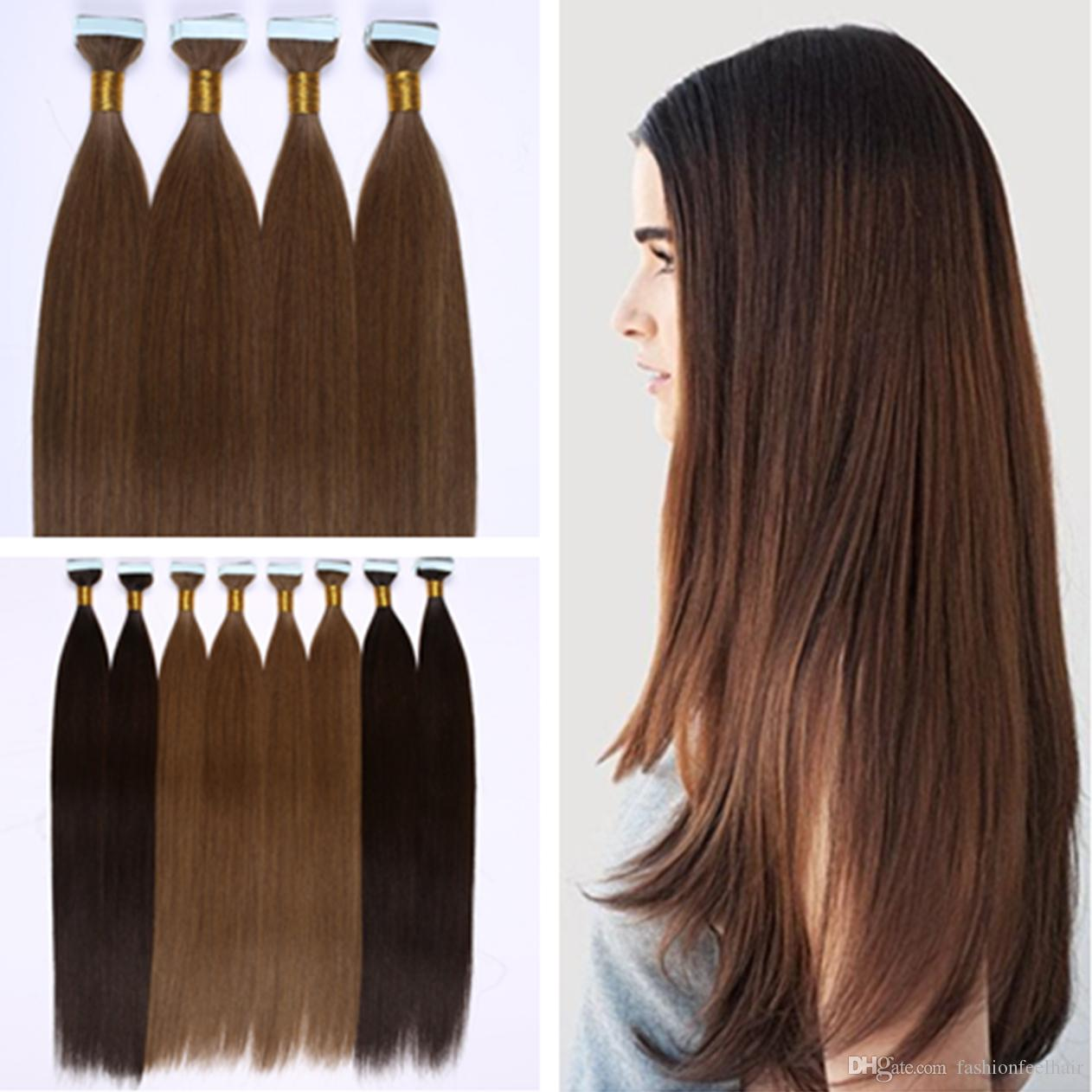 Dhl Invisible Pu Skin Weft Hair Extensions 100 Indian Human Hair