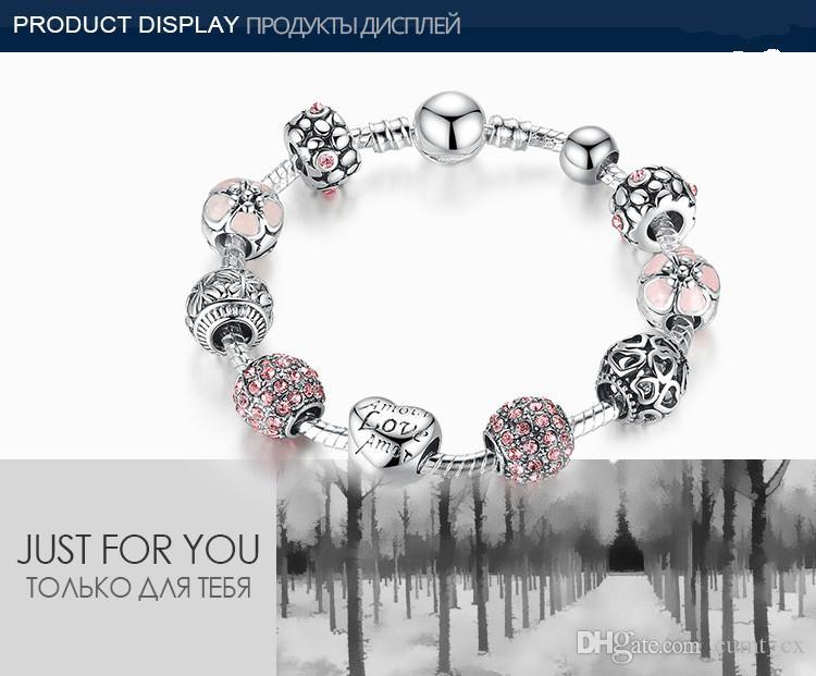 Brazalete de plata antiguo de la pulsera del encanto con amor y flor Bola de cristal de las mujeres que se casan día de San Valentín de regalo
