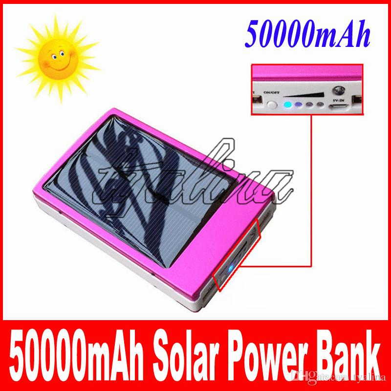 Wholesale - full capacity power bank 50000mah Emergency / Portable+high capacity 50000 mah solar charger free shipping fast home delivery