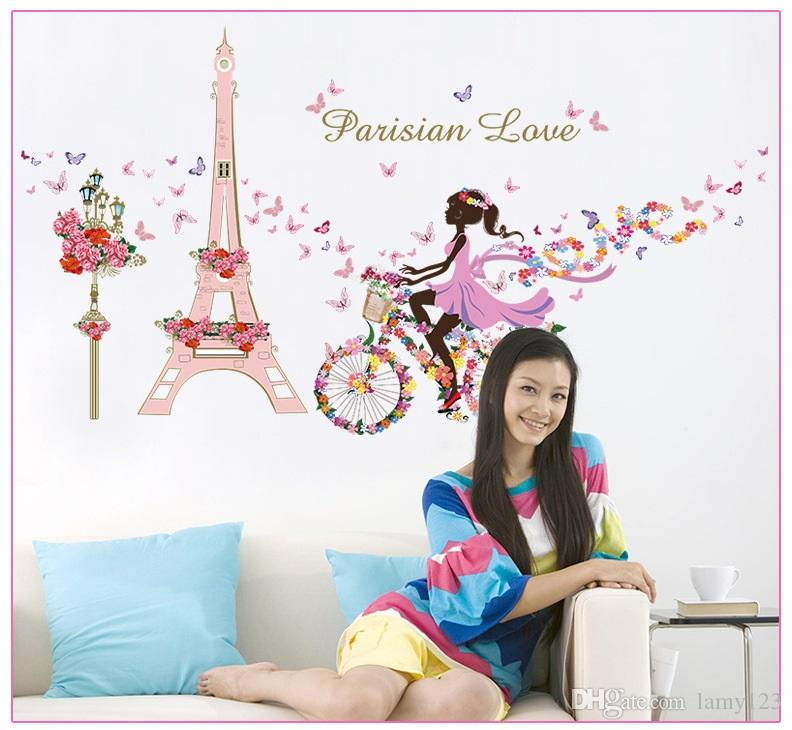 Wholesale Flower Fairy Girl Cycling Wall Decor Bedroom Living Room Background Wall Sticker Removable Waterproof PVC Home Decoration 31.5x57""