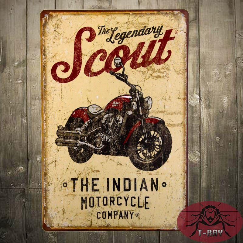 The Legendary Scout Indian Motorcycle Company Metal Tin Sign Rocker ...