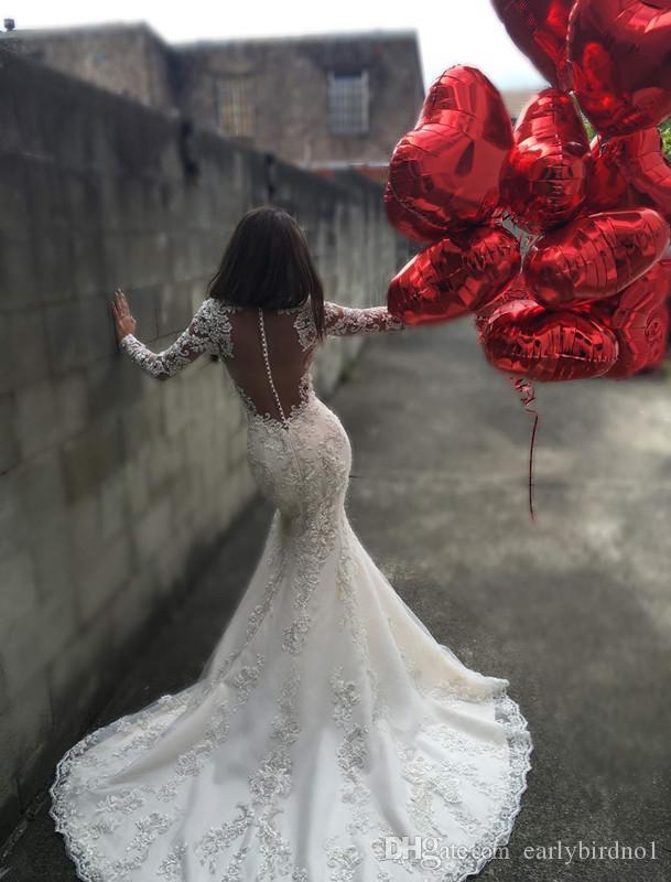 2017 새로운 섹시한 인어 긴 소매 인어 공주 웨딩 드레스 환상 레이스 Appiques 법원 기차 가을 겨울 신부 가운 vestido de noiva