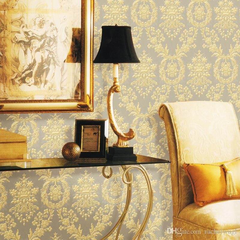 Italia Luxury Classic Wall Paper Yellow Gold Color Thick Pvc ...