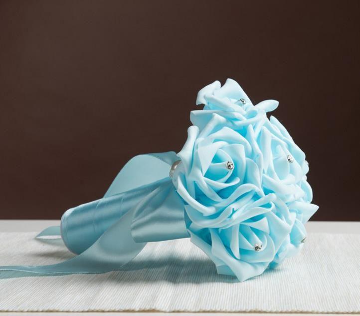 Boda Novia Bouquet Fotografía Prop Día de San Valentín cristal rhinestone perla Rose Flor Cintas Ramos favores festivo regalo de Navidad