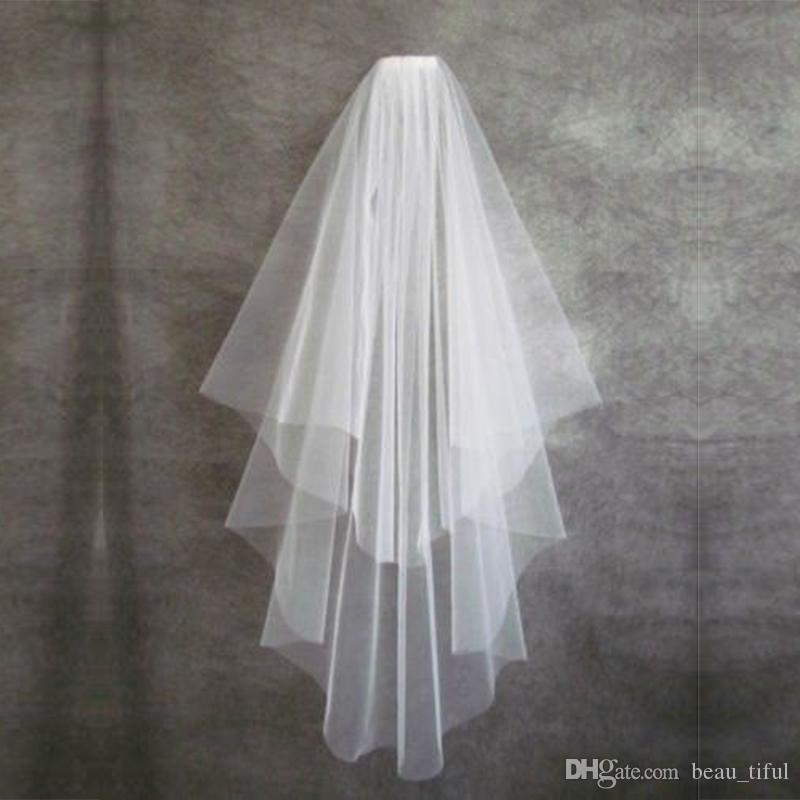 Ts4 Ivory Two Layer Tulle Cut Edge Short Bridal Veils With Comb Cheap Wedding Dress Accessaries Fast Delivery Cathedral Length Veil