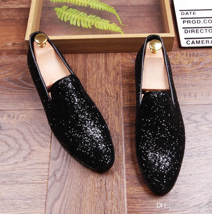 Neue Luxus Männer Freizeitschuhe Gold Glitter Freizeit Slip On Loafer Schuhe Mann Party Schuhe Für Zeigen Silber Schwarz Größe 38-44 DHA8