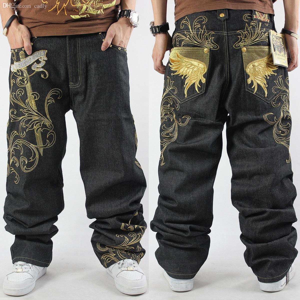 87fa94f513a 2019 Wholesale 2016 New Mens Hip Hop Baggy Jeans For Street Dancing  Amp   Skateboard Loose Fit High Quality Embroidery Plus Size 30 To 46 Hot From  Cadly