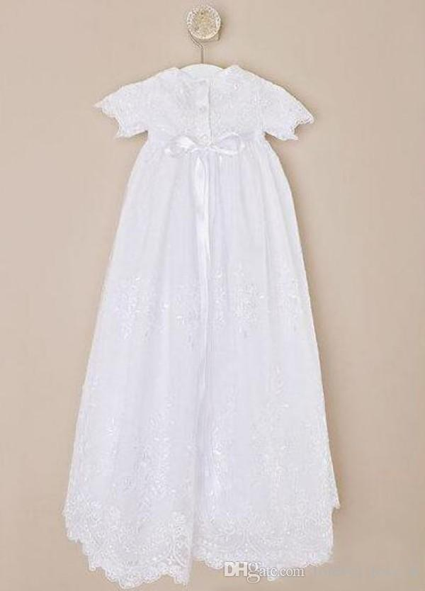 귀여운 영성체 드레스 아이보리 화이트 샴페인 빈티지 레이스 반팔 세례 가운 허리띠 긴 정장 세례 드레스