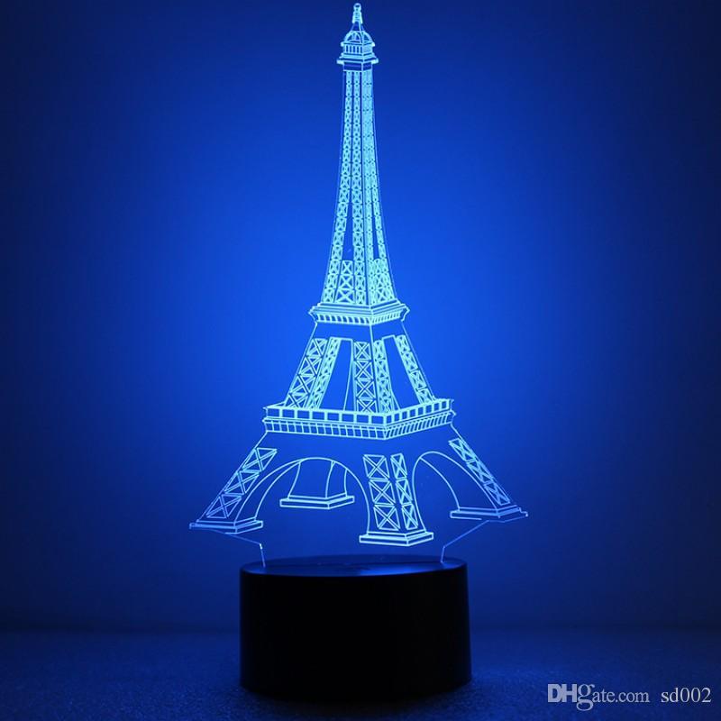 Eiffelturm LED-Licht Kunststoff Acryl Durable Nachtlichter Knopfschalter Hologramm Atmosphäre 3D Lampe Großverkauf der Fabrik 30rm B