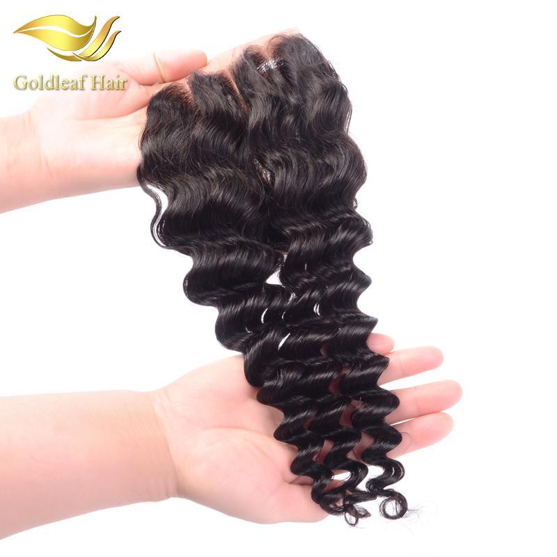 Virgin Malaysian Deep Wave Closure Bleached Knots Free Middle 3 Part Closure Brazilian Peruvian Indian Human Hair Closure
