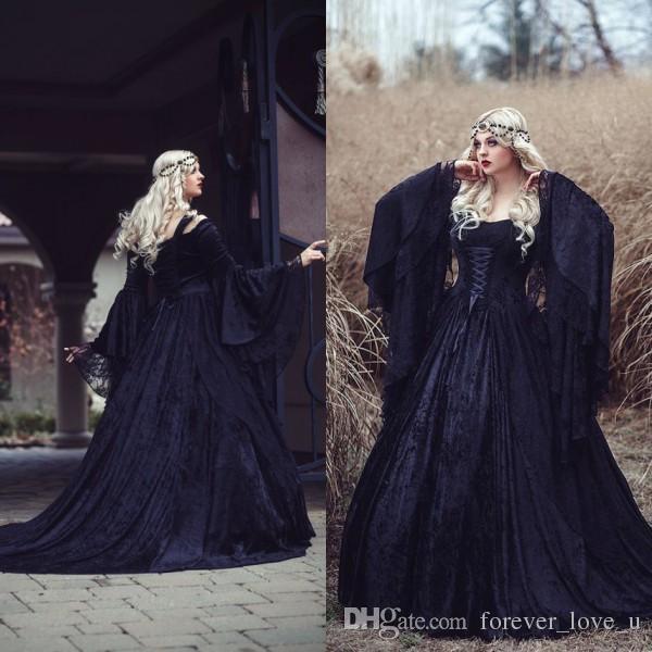 Discount Fantasy Fairy Medieval Gothic Wedding Dresses: Discount 2016 New Arrival Gothic Wedding Dresses High