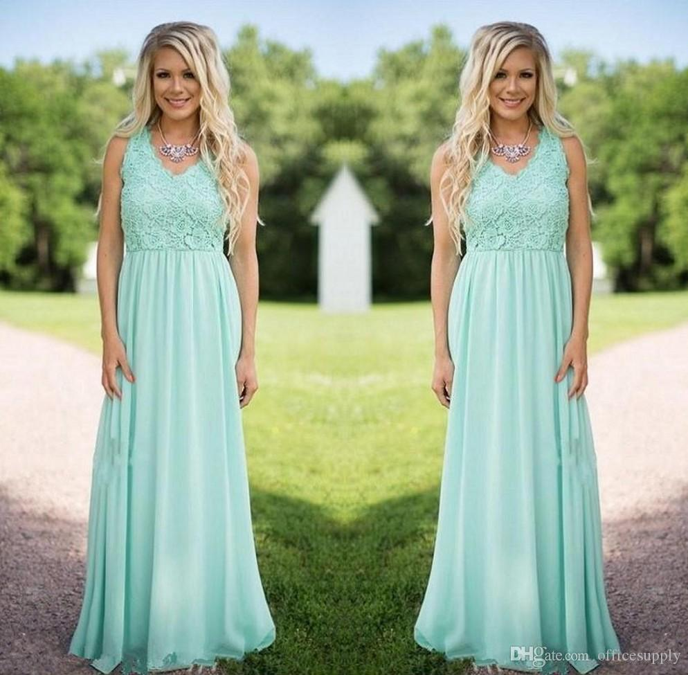 2018 New Designer Mint Green Chiffon Bridesmaid Dresses V Neck Lace ...