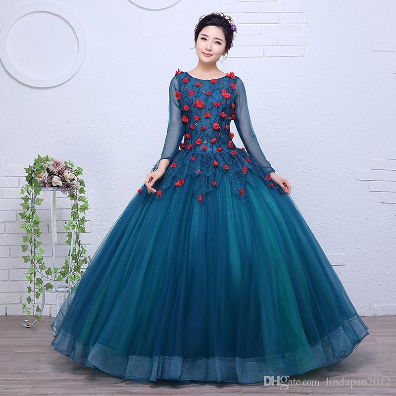 Full Sleeve Wedding Gown: Colored Wedding Dress 2017 New Korean Style Full Sleeve