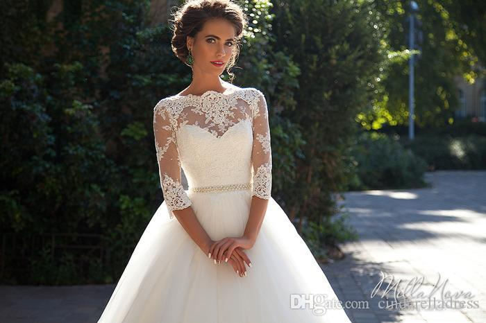 Vintage Lace Millanova 2020 A Line Wedding Dresses Bateau Half Sleeves Pearls Tulle Ball Gown Wedding Gowns Cheap Bridal Dresses