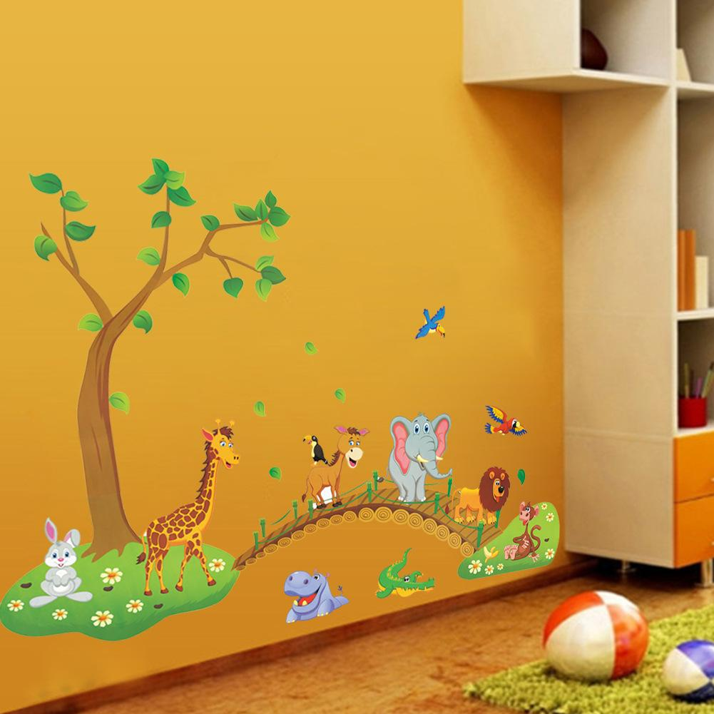 3d Cartoon Jungle Wild Animal Tree Bridge Flowers Wall Stickers For Kids  Room Living Room Lion Giraffe Elephant Birds Home Decor Removable Wall  Murals ... Part 79