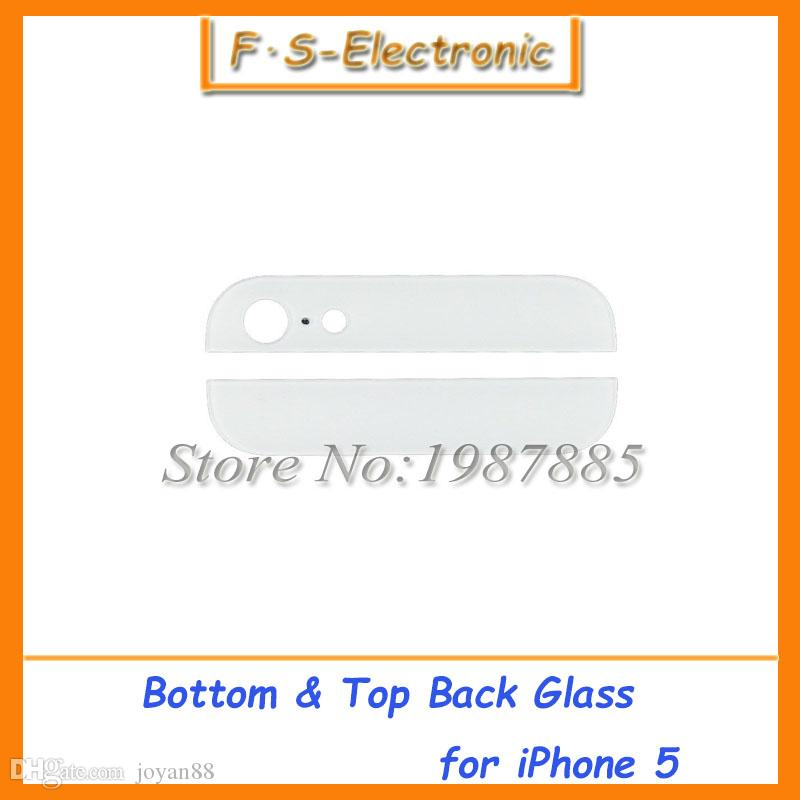 black/white Top and Bottom Back Rear Glass Assemble Housing up and down Cover Set Kit Replacement Parts for iPhone 5G 5s