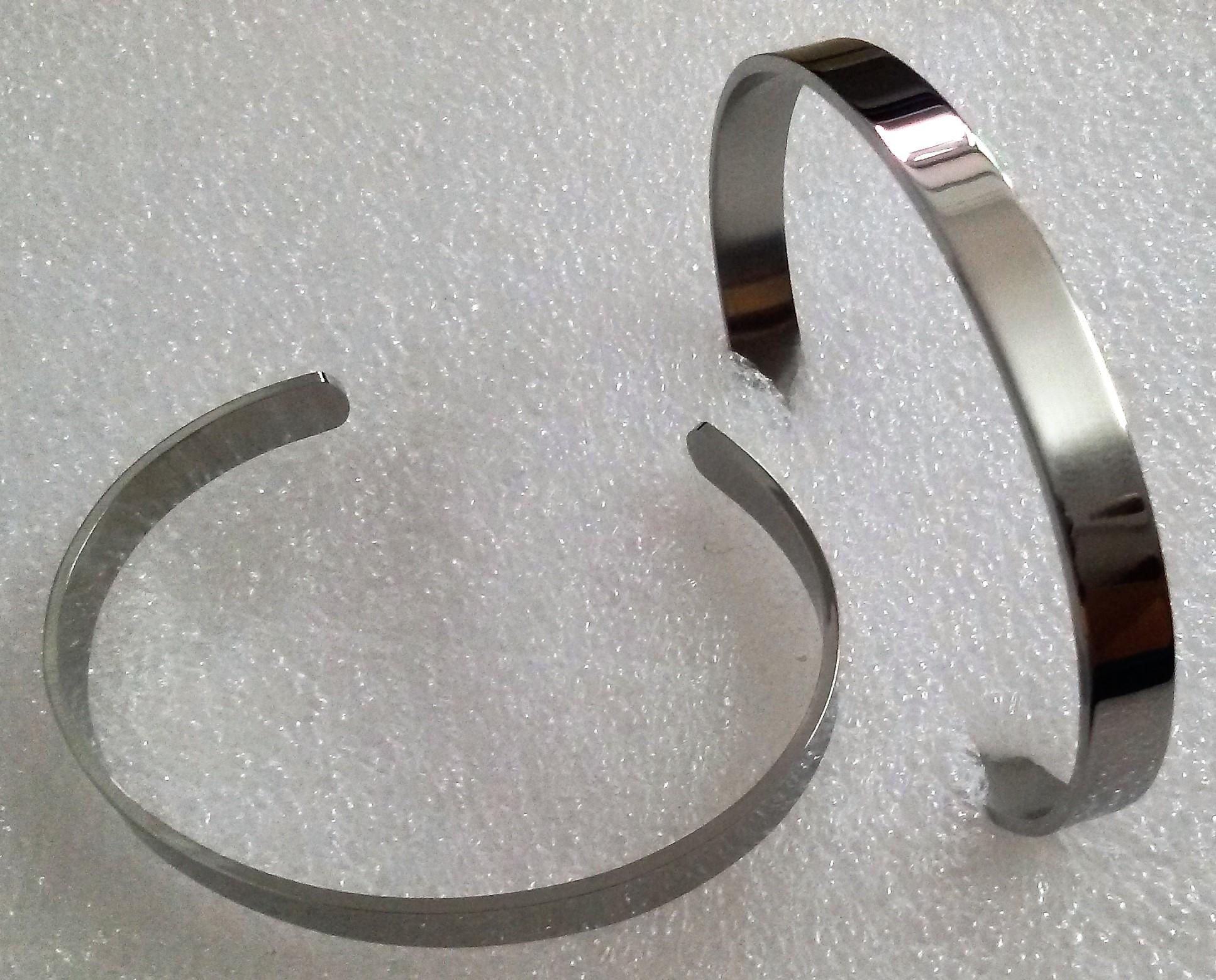 7MM Width High Mirro Polished Open Close End Cuff Blank Bracelet Bangle FOR Children Boy Girl Wrist Size