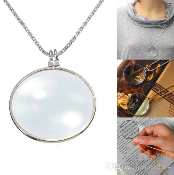 Brand New Decorative Monocle Necklace With 6x Magnifier Magnifying Glass Pendant silver plated gold plated necklaces