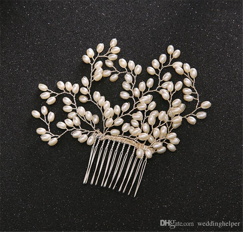 Vintage Wedding Bridal Pearl Comb Hair Accessories Headpiece Crystal Rhinestone Silver Jewelry Crown Tiara Princess Headband Queen Clip