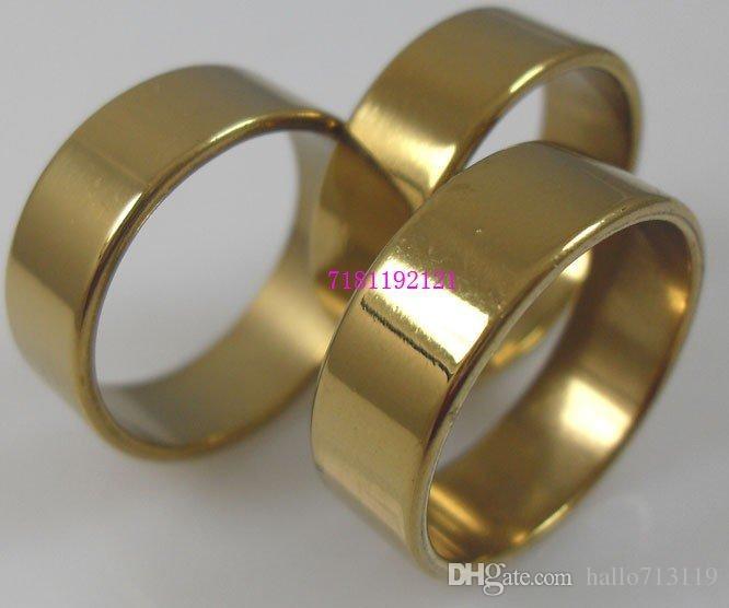50 stks gouden / zilveren mix 8mm band ringen mannen vrouwen roestvrij stalen ringen groothandel mode-sieraden kavels