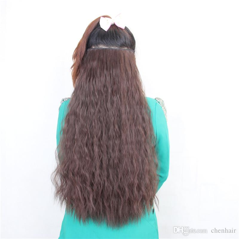 24inch 60cm 120g Man Made Perm 5 Clips On Hair Extension Clip In