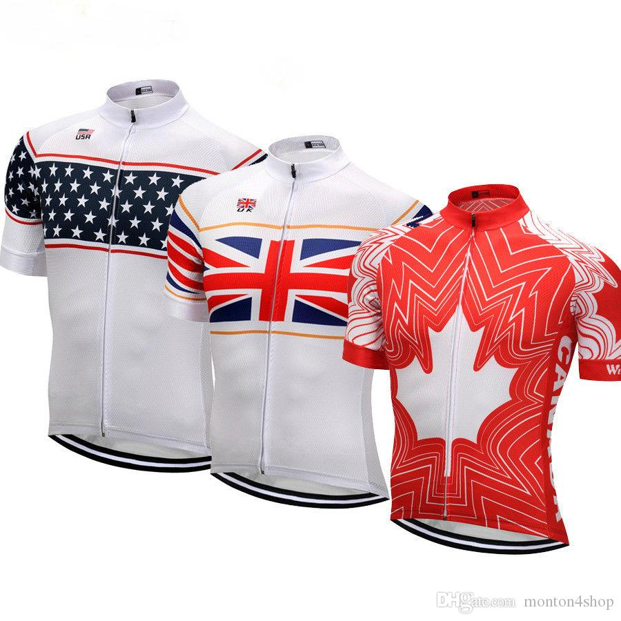 2018 Mens USA UK Canada Cycling Jersey Summer Team Cycling Clothing Bicycle  Wear Roupas Ciclismo Maillot Velo Womens Cycling Shoes Mountain Bicycle  From ... 5712fc344