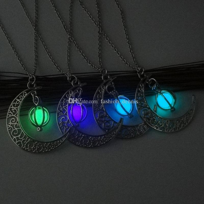 Moda parlatıcı Ay Aydınlık Taş kolye Glow Karanlık Essentials Yağ Difüzör kolye kolye kadınlar Bayanlar Kızlar Takı Hediye