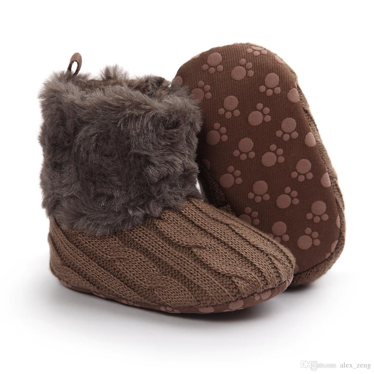 2016 Infant Baby Girls Snow Boots Fur Knitted Wool Thicken Warm Toddler Boy Girl First Walker Shoes Infant Boots Newborn Shoes