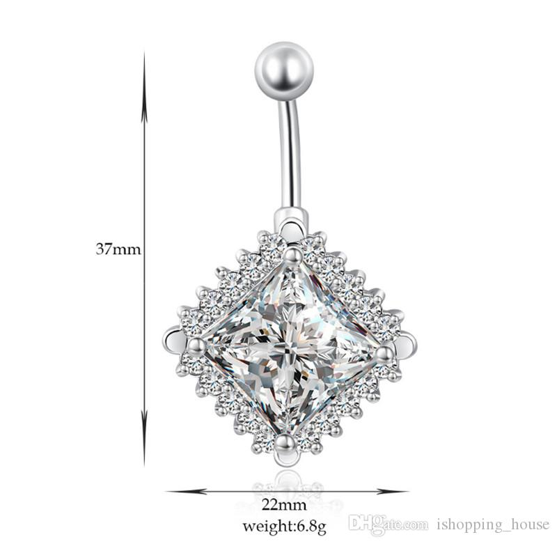 Big Clear Square Rhinestone Barbell Button Body Piercing Ring Dancing Belly Ring Jewelry Navel Belly Bar Ring for Hot Girls BR-