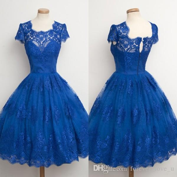 68a3bd73f7 2016 Gorgeous Homecoming Dresses Short Lace Royal Blue Prom Dress Jewel  Neck Capped Short Sleeves Formal Party Gowns Custom Made Occasion Dresses  Semi ...