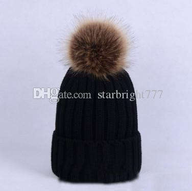 Mother and dauther knit hat baby faux fox fur pompon beanie children stripe knitting outdoor hats women thicken warmer ear cap