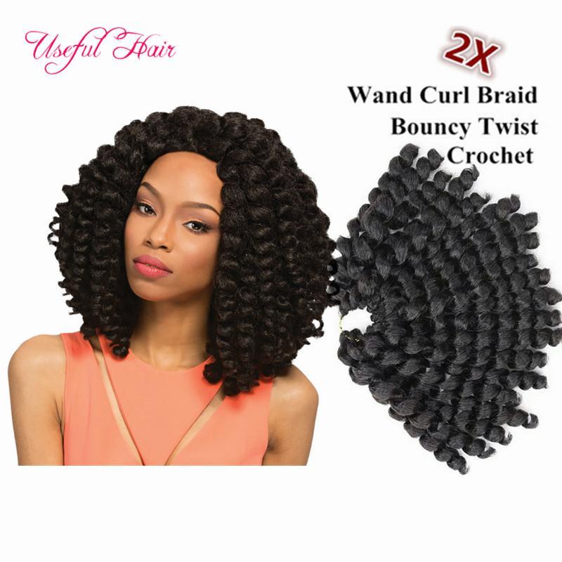"8"" Jumpy Wand Curls Crochet synthetic Braiding Hair Janet Curly Crochet Hair Braids Jamaican Bounce Twist Braid kinky curly Hair Extensions"