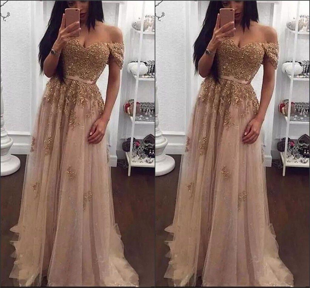 Champagne Lace Beaded Arabic Evening Dresses 2018 New Off The Shoulder Long  Pageant Prom Gowns Vintage Cheap Dubai Vestido De Soiree Floor Length  Evening ... 90c7798631d9