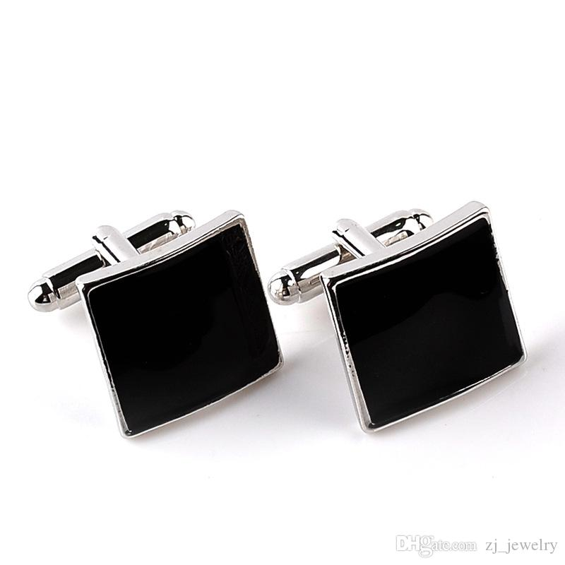 Formal Occasion Business Cufflinks Square Black Brand Mens French Cuff Links For Sleeve Geometric Rectangle High Quality French Cufflink 6